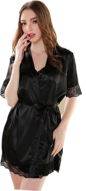 2db670ddfe58 Sexy Elegance Lady Satin Silk Lace Sleepwear 2 Pcs Nightgown Sets - Black -  C811ABK5EJ7
