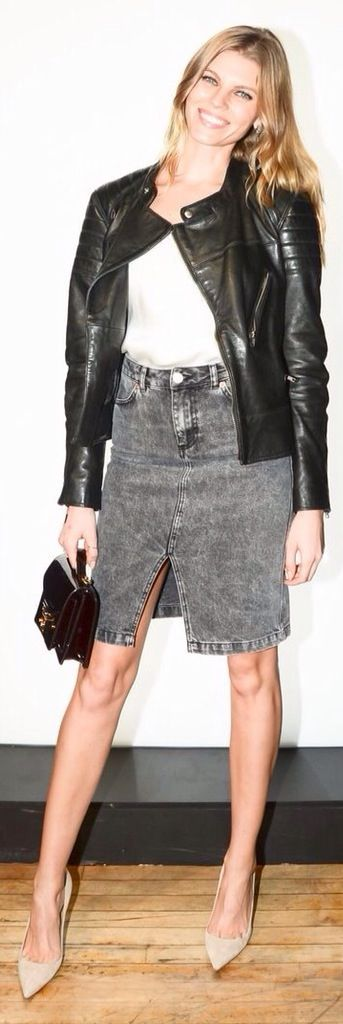 Leather Jaket+Denim Skirt...Lovely