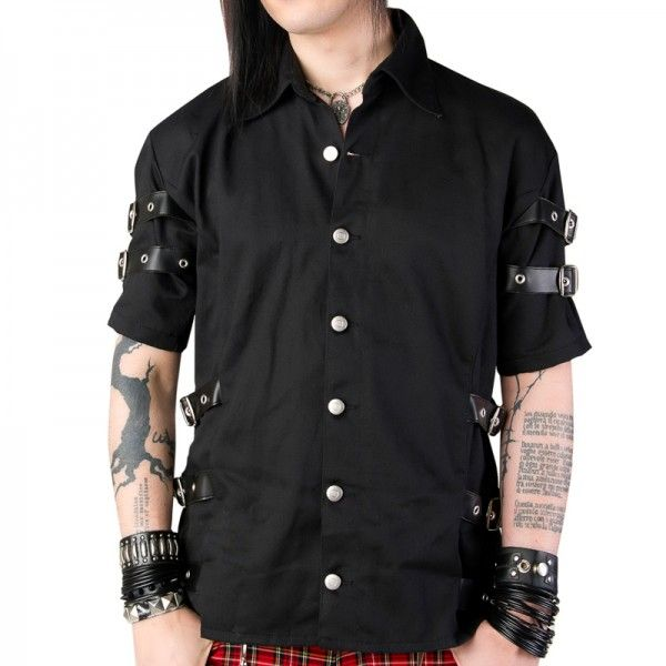 Men's strap shirt by Aderlass, a black denim short-sleeve and button-down design from the Black Pistol clothing collection.