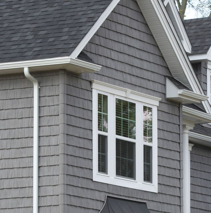 Gray siding white trim black shingles cape cod style for Shakes on house