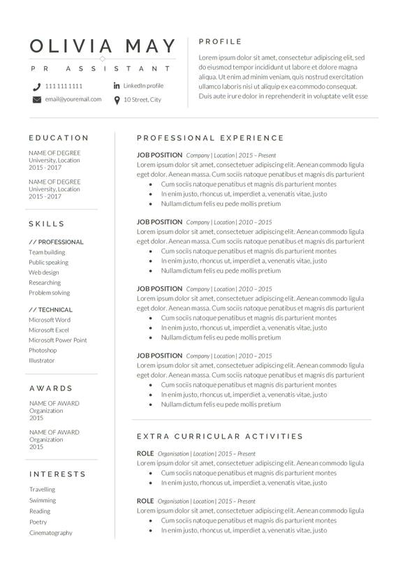 Resume Template Professional Resume CV Template Modern Resume