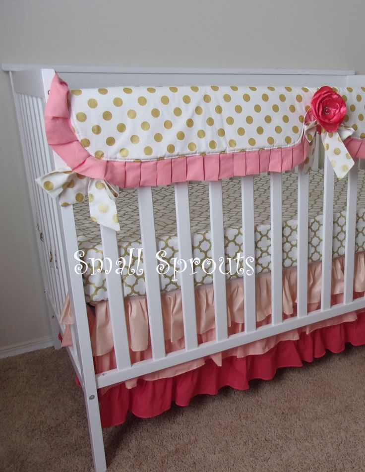 Gold Dot/Gold Quatrefoil/Coral Baby Crib Bedding/Bumperless/Bumpers~Ombre 3 Tiered Ruffled Baby Crib Skirt-A La Carte Separates by smallsproutsbaby on Etsy