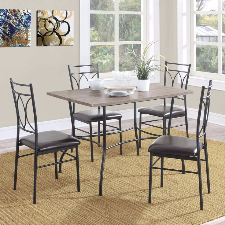 5 Piece Rustic Dining Set Rectangular Wood Metal Kitchen Dinner Table Chairs New #PerfectHomeSavings #Contemporary