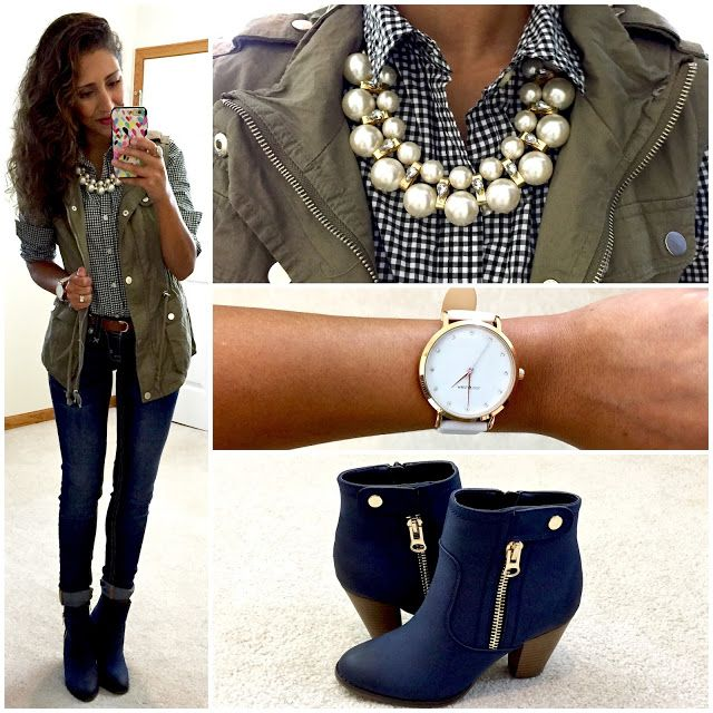 Gingham button-up, cargo vest, jeans, navy ankle boots.