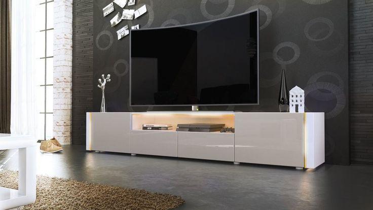 Casanova porta TV moderno, mobile soggiorno bianco con led
