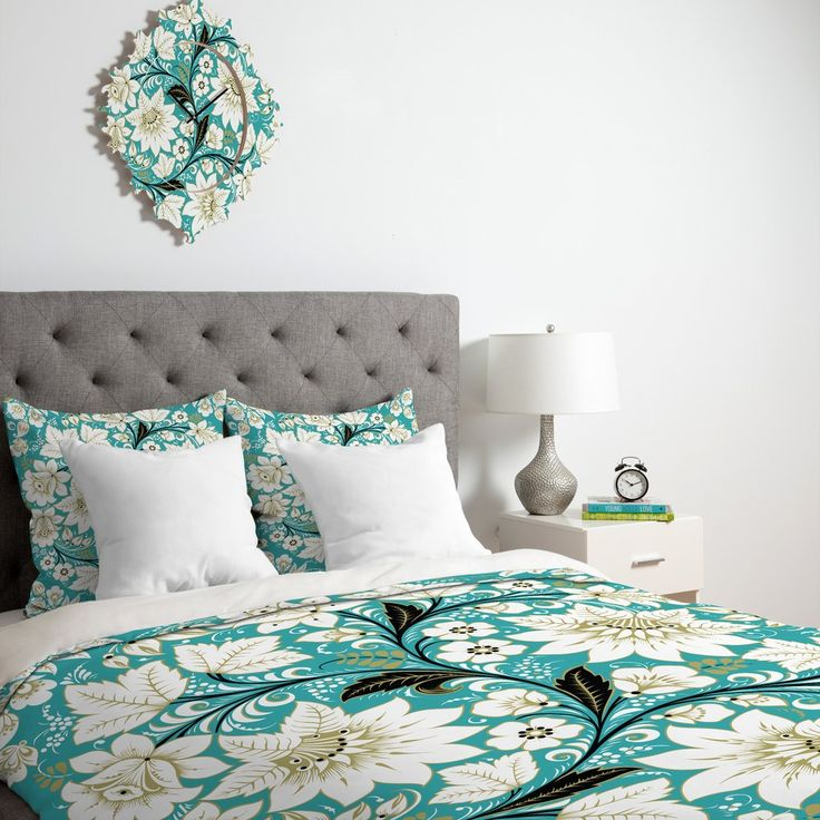 Juliana Curi Classic Turquoise Duvet Cover   DENY Designs Home Accessories