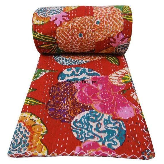 Indian Handmade Red Floral Print Kantha Quilt Bedspread Vintage Cotton Throw