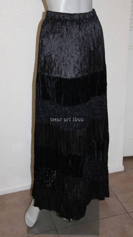 Lucia Lukken Broomstick Skirt Black Velvet Tiered Maxi Sz L #LuciaLukken #Maxi