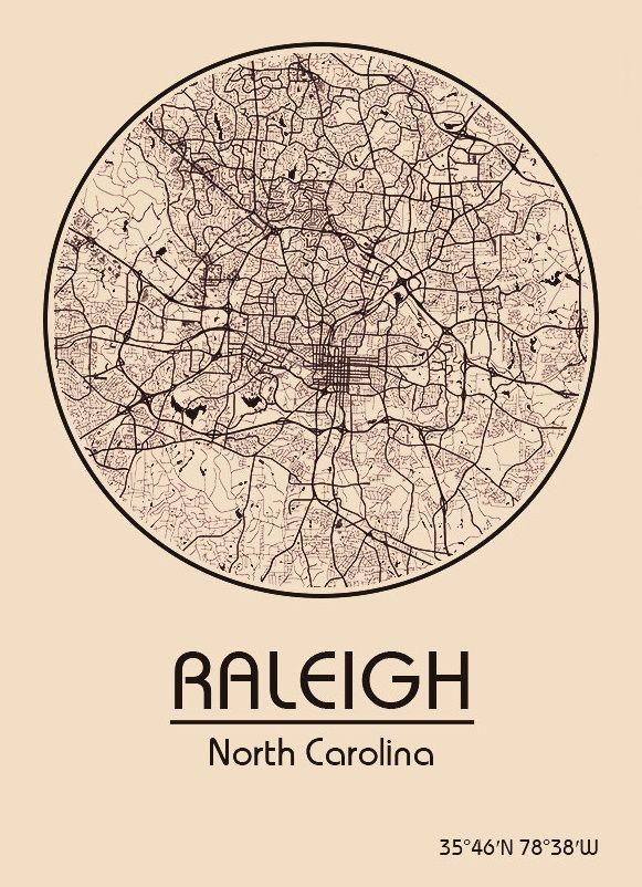Karte / Map ~ Raleigh, North Carolina - Vereinigte Staaten von Amerika / United States of America / USA