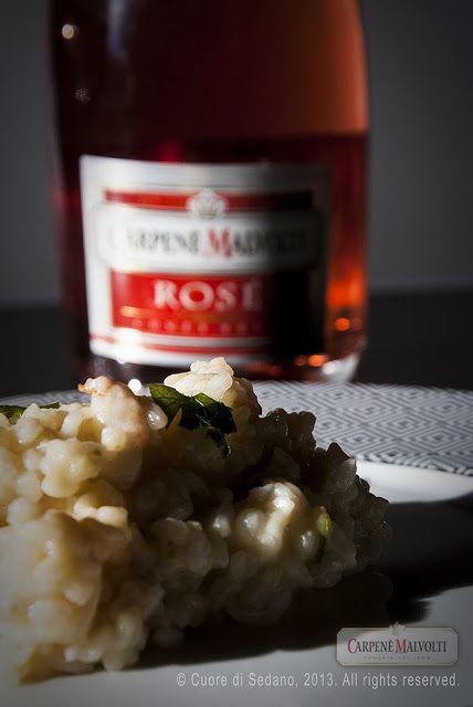 Risotto ai gamberetti, pere e Rosé Brut Carpené Malvolti