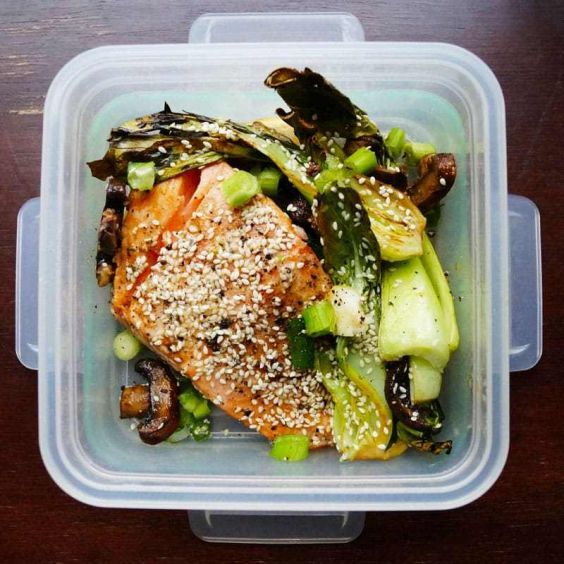 Spend 30 minutes prepping this dish, and you have your next four lunches ready—talk about a time-saving recipe. Plus, as the salmon and veggies sit in the marinade, they'll taste better with each passing day (just make sure to use up the fish by that fourth day). Keto friendly!