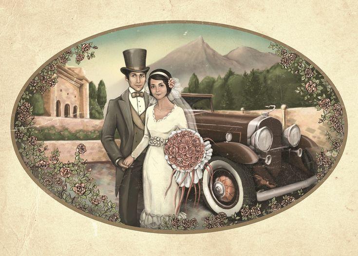 Открытка с днем свадьбы винтажная, умная