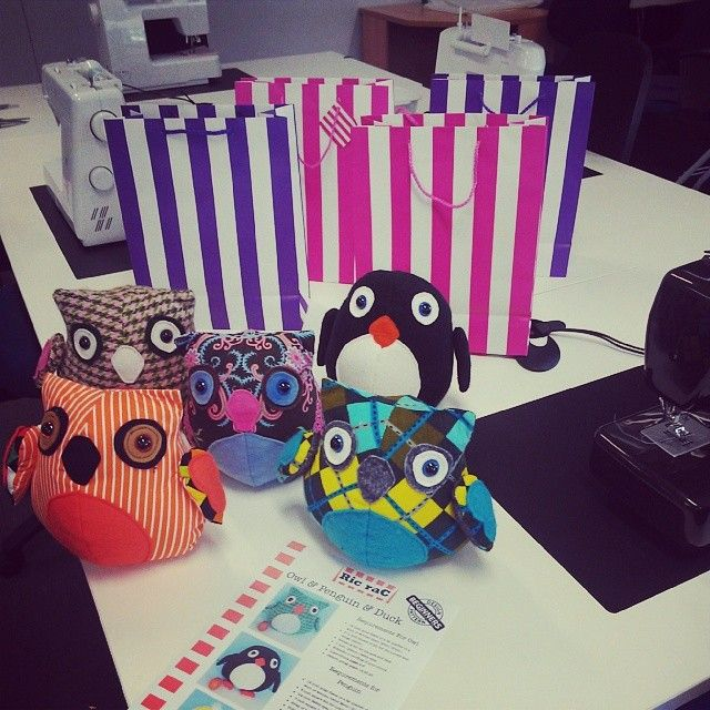 School Holiday classes making the Owl, Duck & Penguin pattern by Ric Rac Jodie at Kim Bradley Creations