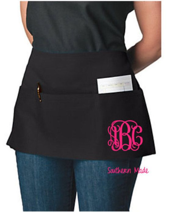 Waitress Apron Monogram Waitress Half Waist by SouthernMadeLLC