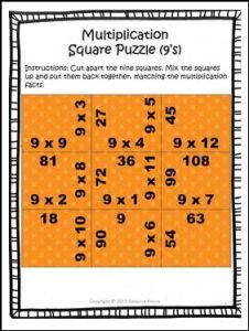 """FREE MATH LESSON – """"Multiplication Madness: Square Puzzles for Basic Fact Practice (9's Times Table)"""" - Go to The Best of Teacher Entrepreneurs for this and hundreds of free lessons. 3rd - 5th Grade  #FreeLesson  #Math  http://thebestofteacherentrepreneursmarketingcooperative.net/free-math-lesson-multiplication-madness-square-puzzles-for-basic-fact-practice-9s-times-table/"""