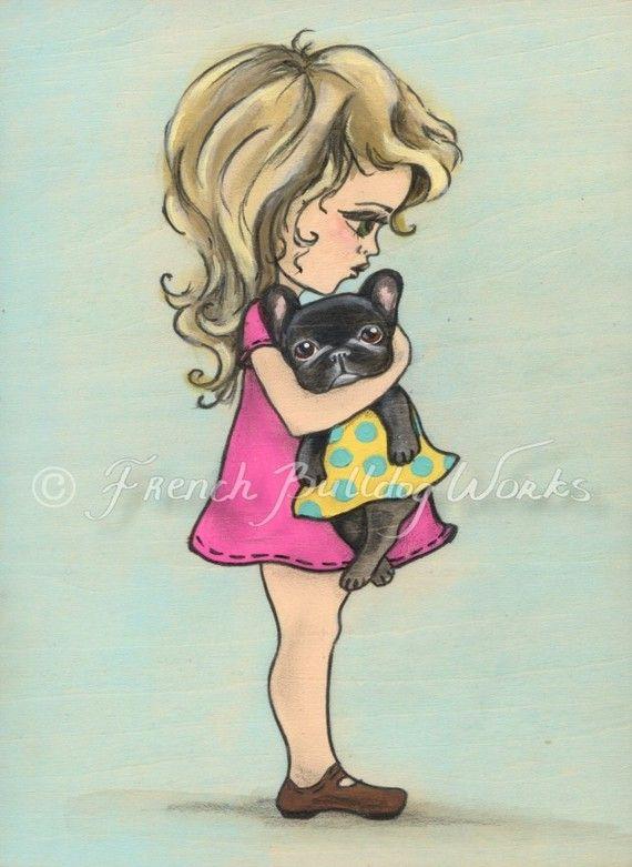 Original French Bulldog Little Girl Painting by frenchbulldogworks