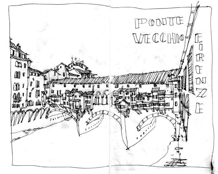 Sketching Ponte Vecchio, Florence