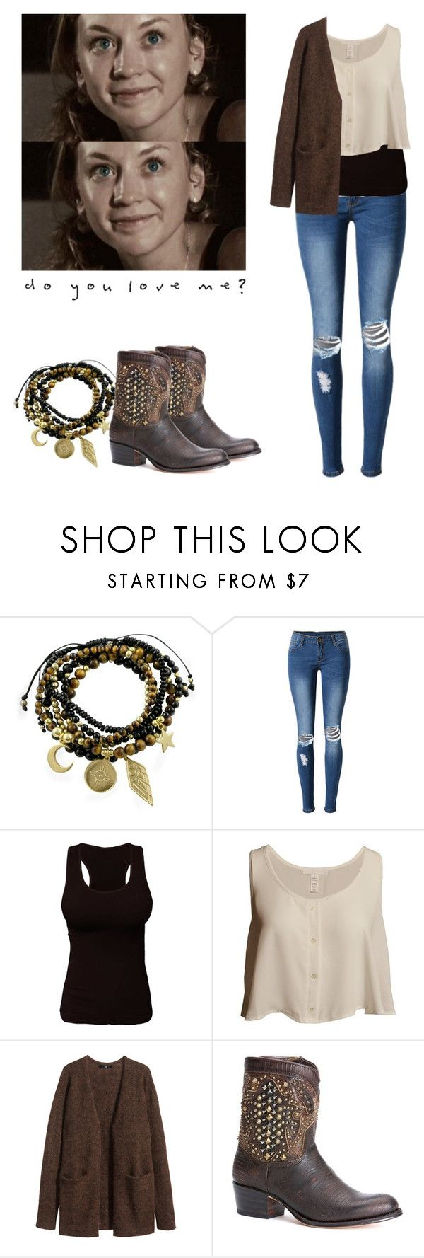 """""""Beth Greene outfit for chilly weather - twd / the walkig dead"""" by shadyannon ❤ liked on Polyvore featuring Essentia By Love Lily Rose, WithChic, H&M and Frye"""