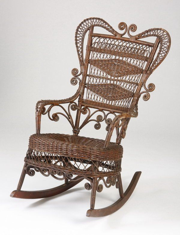 264: American Victorian wicker rocking chair on | Victorian & 19th C. ~  Furnishings I ~ Complete | Pinterest | Wicker, Chair and Wicker rocking  chair - 264: American Victorian Wicker Rocking Chair On Victorian & 19th C