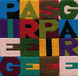 """"""" Alighiero Boetti, Piegare e spiegare [To Fold and to Unfold], embroidered tapestry ARAZZO, 1992 """""""