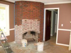 (grout to lighten the mortar lines and whitewash the brick)  Fireplace Mantel - chichomeantiquesblog