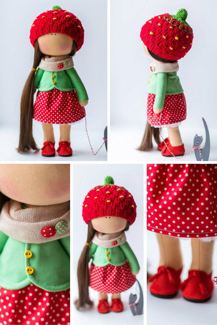 Rag tilda doll Art doll handmade red green by AnnKirillartPlace