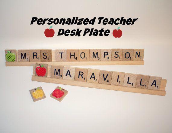 Sale Teacher Name Plate Teacher Appreciation Present  #etsy #handmade #teacher #teachername #teachergift #christmas #teacherchristmas #etsyhandmade #teachernameplate #nameplate #apple #appleteacher #school #schoolgift #schoolpresent