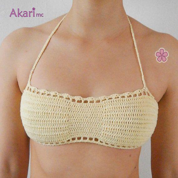 Patrón de crochet de sujetador de bikini festoneado _ por AKARImc