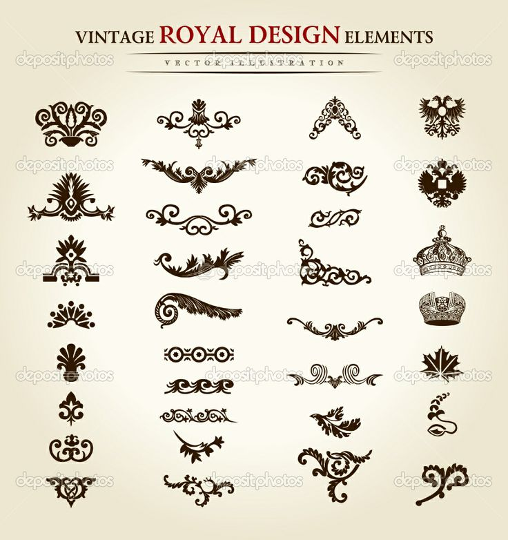 antique tattoo designs | Flower vintage royal design element | Stock Vector © Extezy #4911453