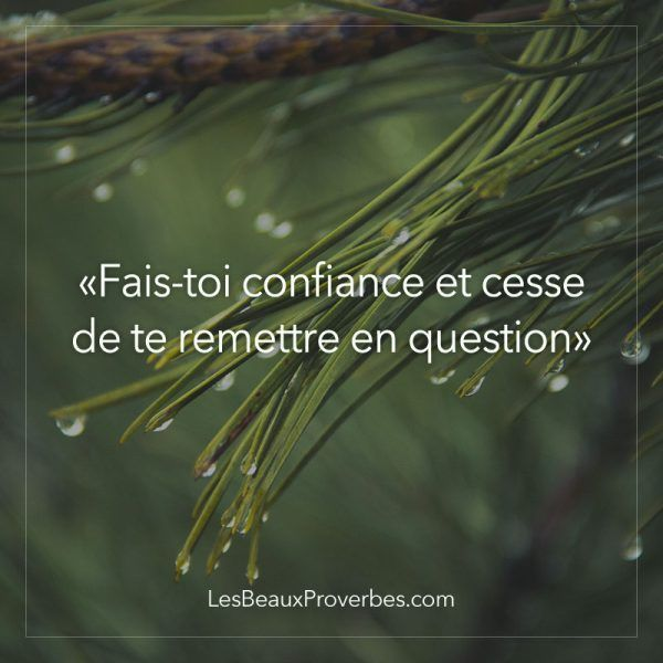 «Fais-toi confiance et cesse de te remettre en question» - Les Beaux Proverbes – Proverbes, citations et pensées positives