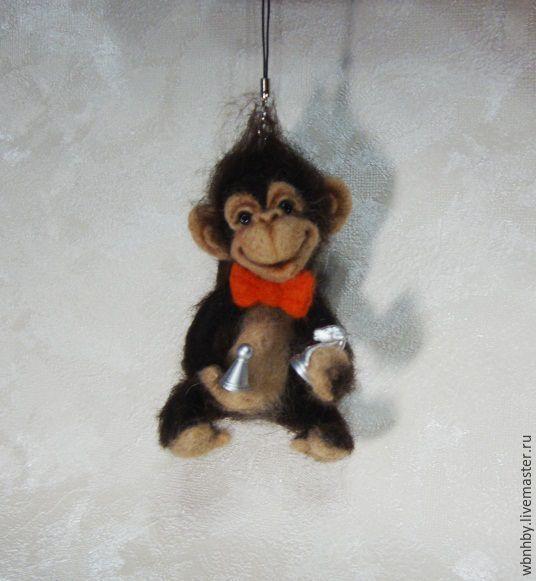 Купить Брелок -Обезьянка - коричневый, обезьянка, обезьяна, символ года, символ 2016 года