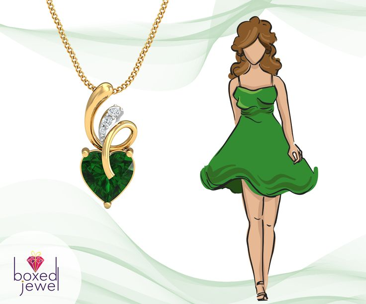 A Tiny Green Stone Can Brighten The Complete Look!  #Cocktaildress #CocktailJewelry #Pendants #GoldJewelry