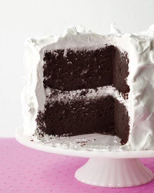From scratch Devil's Food Cake w/ Fluffy Frosting