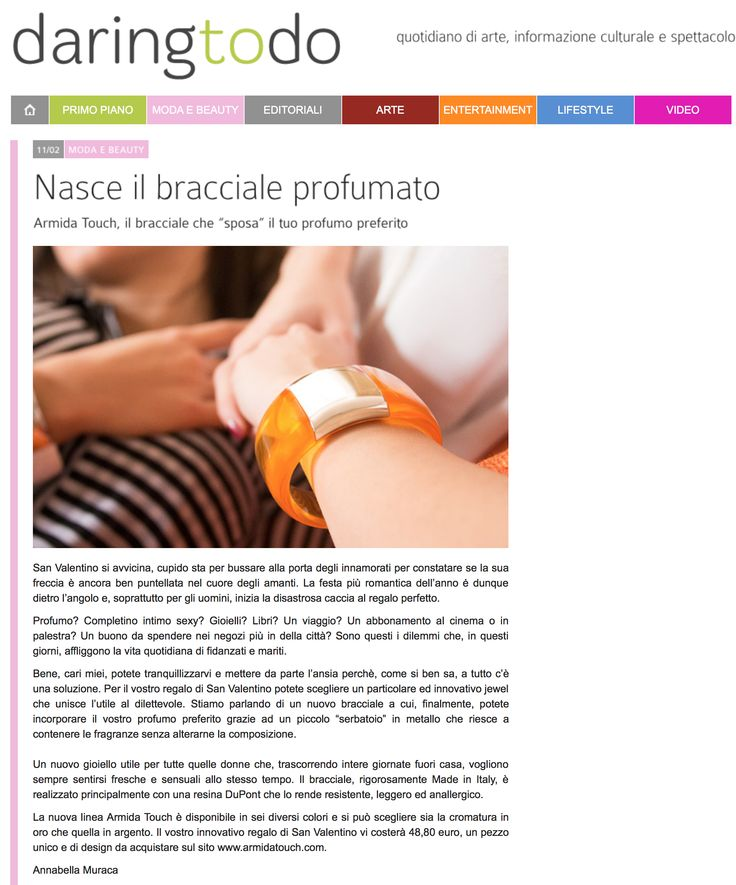 @armidatouch suggested by Annabella Muraca  #press #style #perfume  http://www.daringtodo.com/lang/it/2015/02/11/nasce-il-bracciale-profumato/