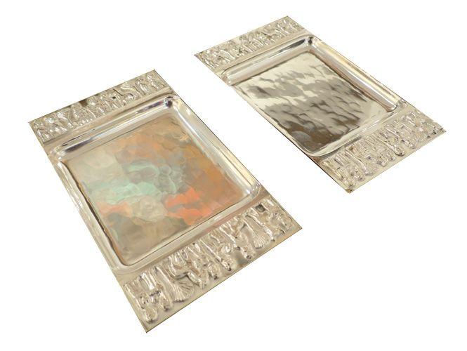 Teván Margit (1901-1978)  Dísztálkák reliefekkel, 1940-es évek Ezüstözött sárgaréz 14.5 x 8.5 cm