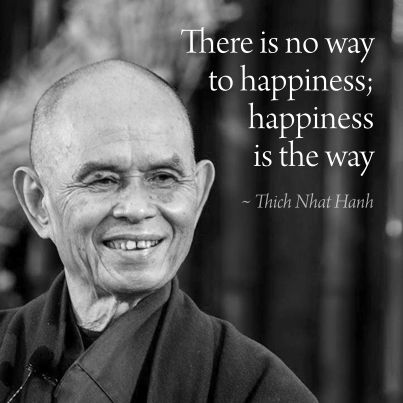There is no way to happiness, happiness is the way. Thich Nhat Hanh