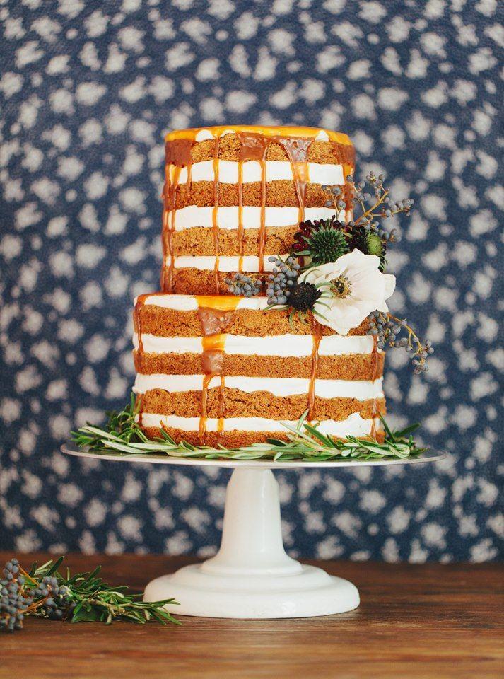naked carrot cake with salted caramel glaze