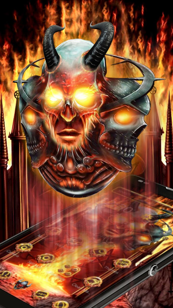 Hell fire skull 3D art theme for your android mobile  Living