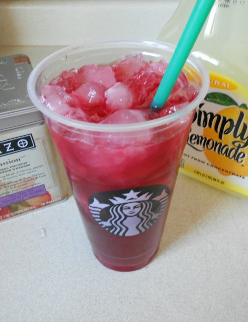 Copy-cat recipe: Starbucks Passion Tea Lemonade--could make this with stevia and lemon juice instead of lemonade