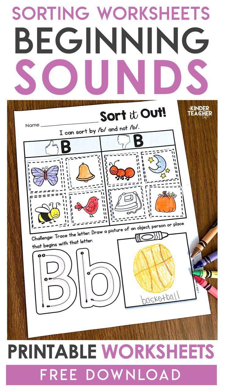 Free Phonemic Awareness Sorting Worksheets Alphabet Preschool Kindergarten Worksheets Alphabet Activities [ 1274 x 736 Pixel ]