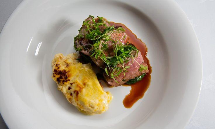 Roast rump of lamb a la dijonnaise, gratin dauphinoise