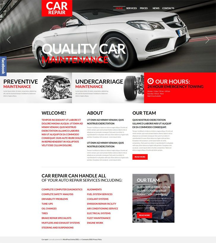 #Car #Repair #WordPress #Theme.Here's an easy to use WordPress theme suitable for car repair shops and any other companies providing maintenance services. Due to its text rich design, you can create an informative portal giving prominence to various facets of your business. The most important info is highlighted with red typography and buttons that stand out against a clean background. Responsive, WPML ready, and SEO friendly, the template complies with the modern web design tendencies, e.g…