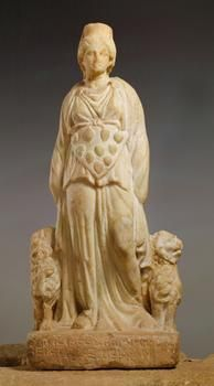 An ancient Greek statue of the goddess Cybele with her lion attributes and a triangular apron with ten bosses (precursors of Artemis's 'breasts'). (Kunsthistorisches Museum Vienna)