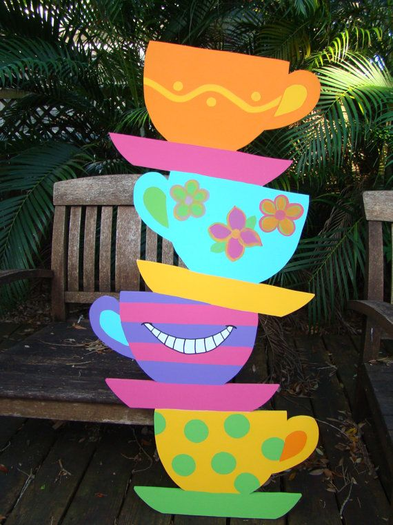 I am so happy to be offering these colorful oversized stacked tea cups! What a welcome to greet your Tea Party guests! These cups stand 4 tall and