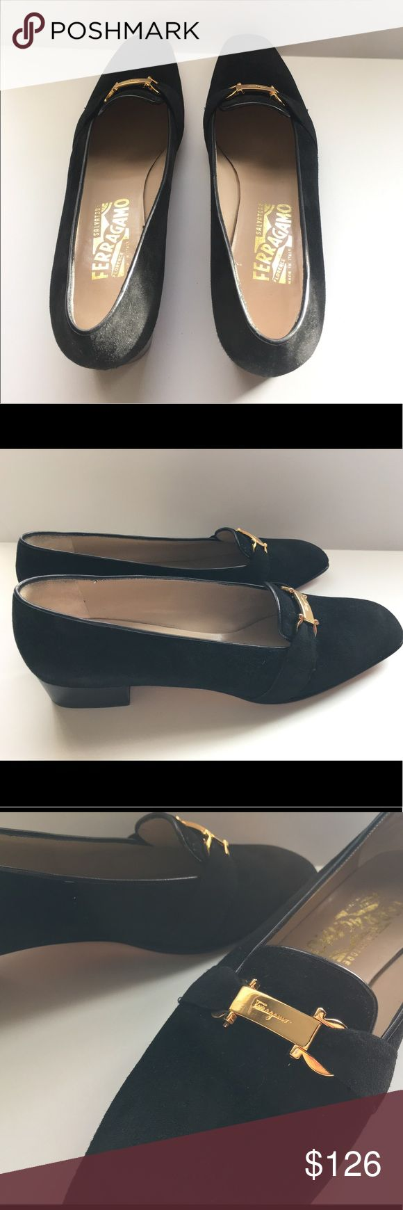 Ferragamo Black Suede Loafers + Gold buckle, sz10 Nearly New Women's Ferragamo Black Suede Slip On Spectator Loafers , 10.    Pre owned in excellent condition.  Black suede loafers Gold branded name plate at the toe Ferragamo Shoes Flats & Loafers