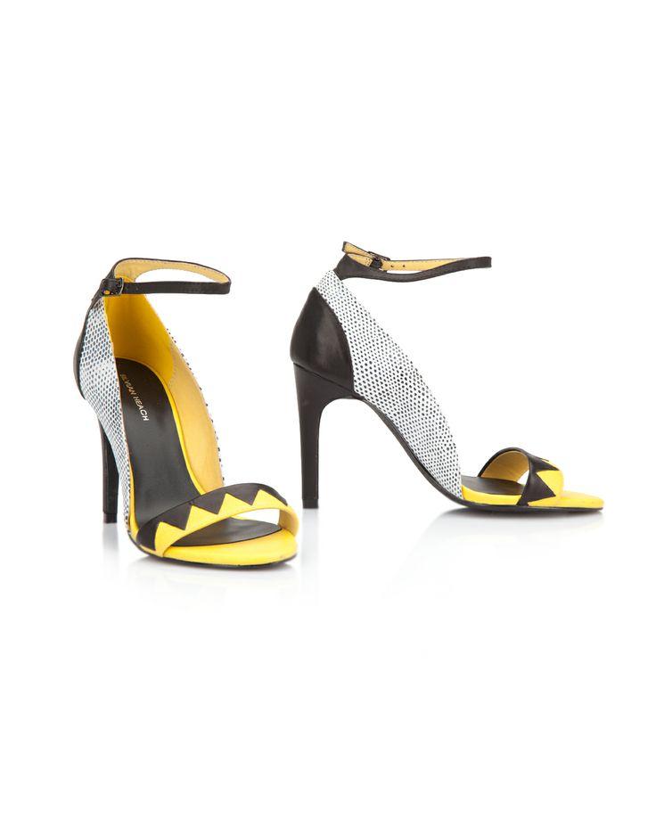 SANDAL DELMONTE Silvian  Heach Sandalo bicolor in vera pelle con cinturino alla caviglia, tacco 10. 80% pelle - 20% poliuretano