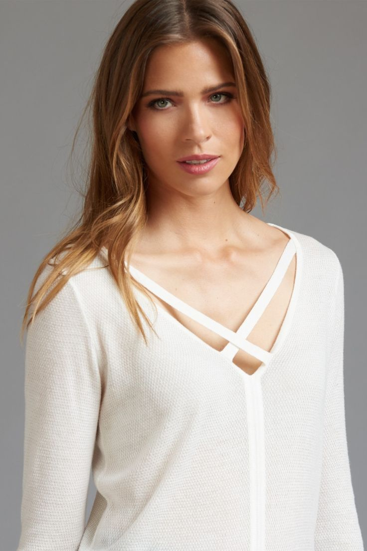 Channeling effortless style - Strappy v-neck tunic sweater