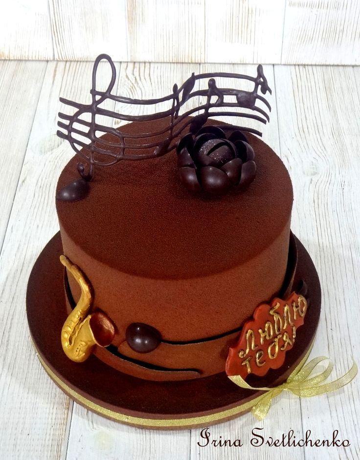 Торт для музыканта, декор-шоколадный велюр