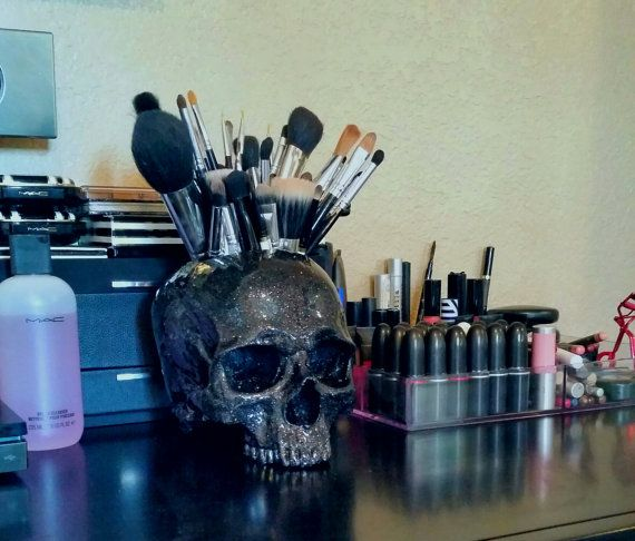 Skull Make Up Brush Holder Awesome Human Skull And By