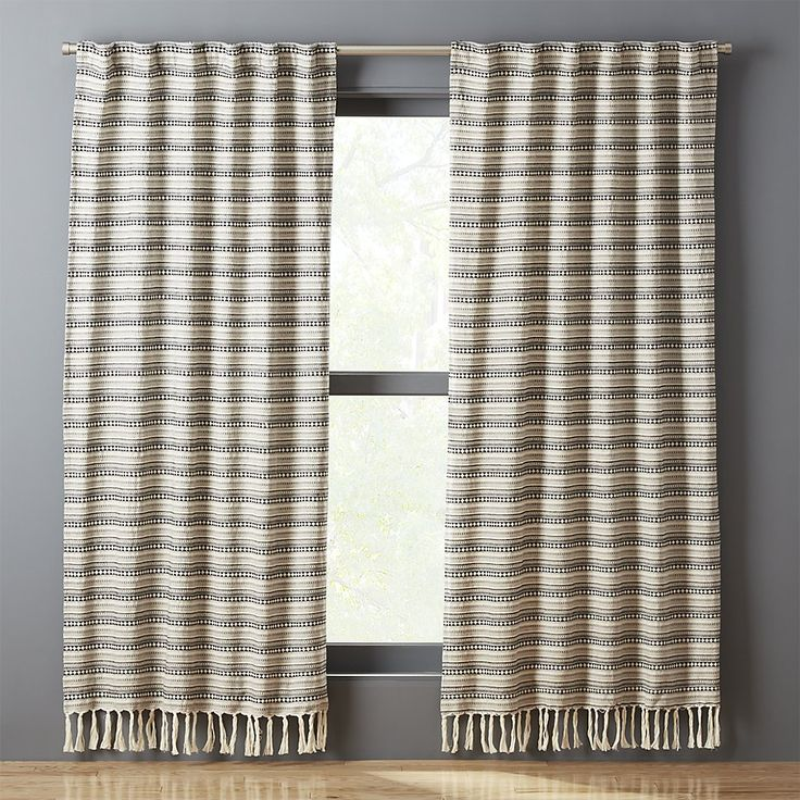 Shop Thalia Fringe Curtain Panel.   Inspired by southwestern fabrics and patterns, jacquard weave in a detailed stripe design adds a laid-back graphic layer to any room.  Modern neutrals go with everything.  Bottom tassels bring a bit of fun.